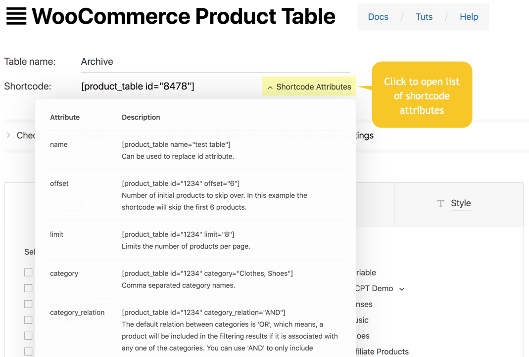woocommerce product table lite