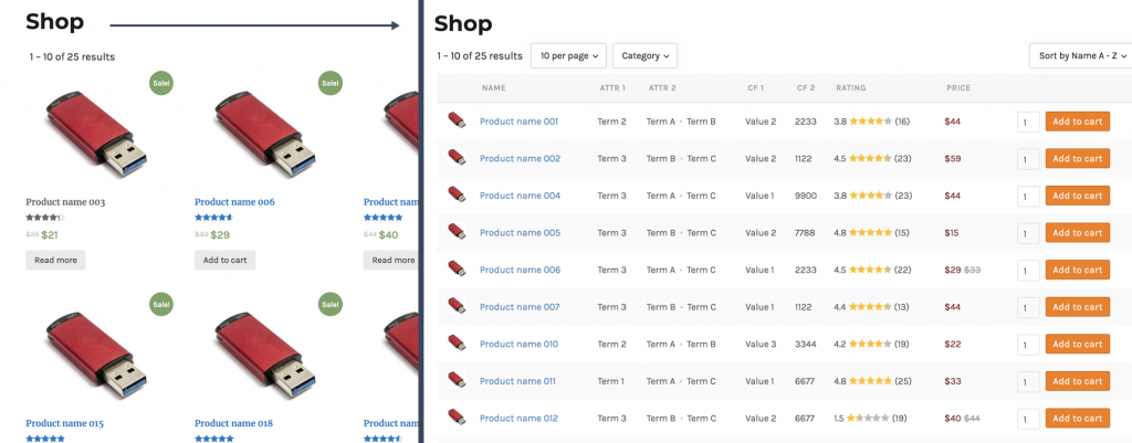 Replace woocommerce shop page product grid with a product table